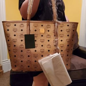 MCM champagne gold reversible tote with wristlet